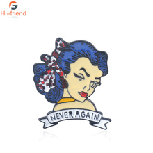 X-Files Fox Muds Tattoo Never Again Text Brooches Enamel Pins For Women Metal Decoration Lapel Pin Men Broach Jewelry Gift