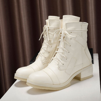 2019 New Winter Genuine Leather Ankle Boots Women Lace Up Chunky Heels Combat Boots Designer Riding Womans Booties White Black