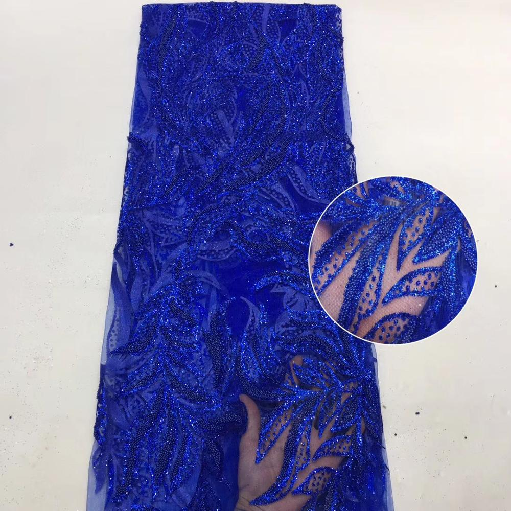 African Lace Fabric 2020 High Quality Lace With Beads, Latest Nigerian Lace Fabrics For Wedding ML8489
