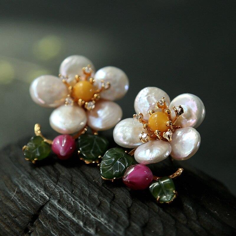 Bebeoso nouveau design fait à la main boucles d'oreilles en forme de perle fraîche cire d'abeille fleur boucle d'oreille pour les femmes bijoux originaux