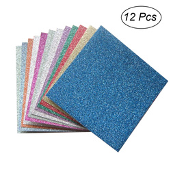 12 Sheets Papers Glitter Durable Papers Origami Paper DIY Paper Hand Craft Sheets for Kids