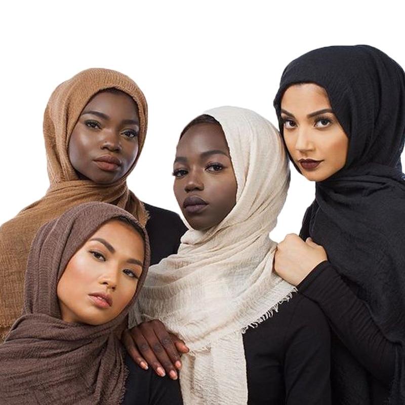 Hijab Scarf Shawls Wraps Crinkle Musulman Cotton-Head Scarvesturban Muslim Women Femme