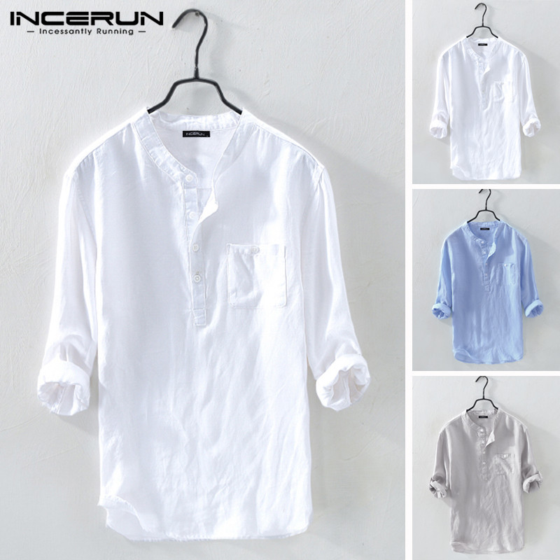 INCERUN Men Shirt Cotton 3/4 Sleeve Stand Collar Harajuku Tops Solid Color Vintage Brand Shirts 2020 Streetwear Camisa Masculina