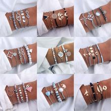 IFMIA Bohemian Geometric Stone Bracelet Set For Women Vintage Rope Taseel Sequin Moon Map Elephant Heart Leaf Female Jewelry NEW(China)