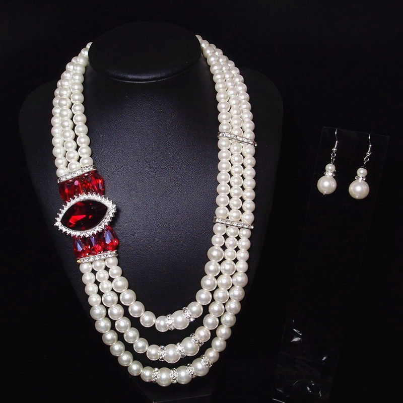 Jewelry-Set Faux-Pearl Necklace Earrings American-Style European And Retro Amazon Exaggerated