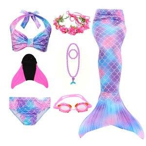 Image 5 - Meerjungfrau Schwänze für Schwimmen Mädchen Swimmable Mermaid Tails Schwimmen Anzüge Bikini Cosplay Kostüme Kinder Bikini für Mädchen Halloween Purim