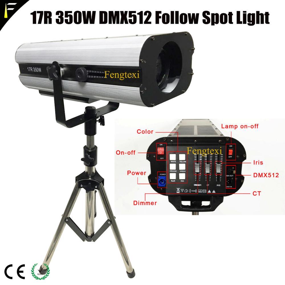 Theater Wedding Tracking Light Follow Spot Light 17r/r17 350w Followspot With 5Color+ 3200K5600K6500K White Include Tripod&Case