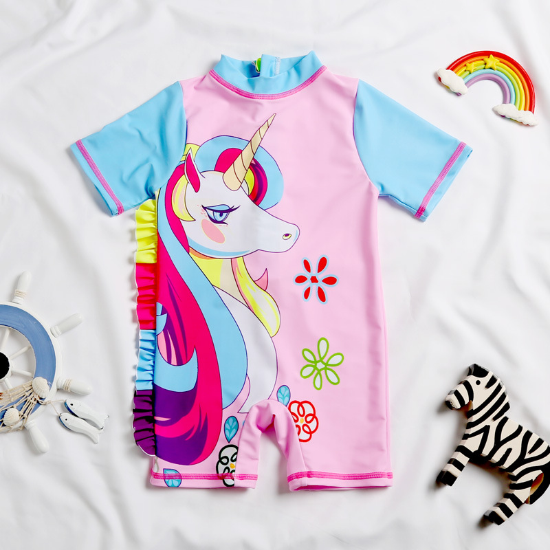Hot Selling Hot Sales Children Swimming Suit Unicorn Pattern Kids Girls Boxer Zipper Siamese Swimsuit One-piece