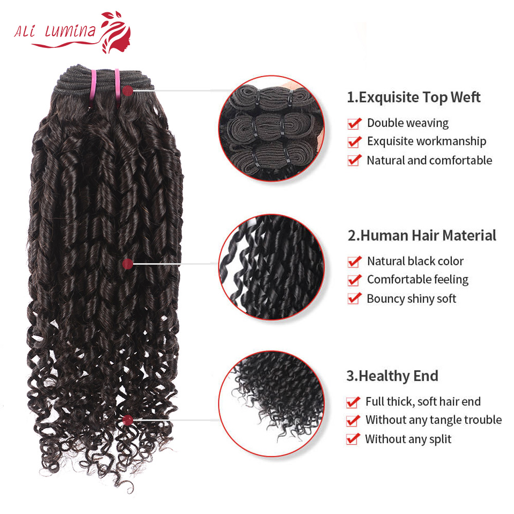 Funmi Telephone Curl 3 Bundles with 4*4 Lace Closure  Human  Hair s 3 Bundle with Closure 2