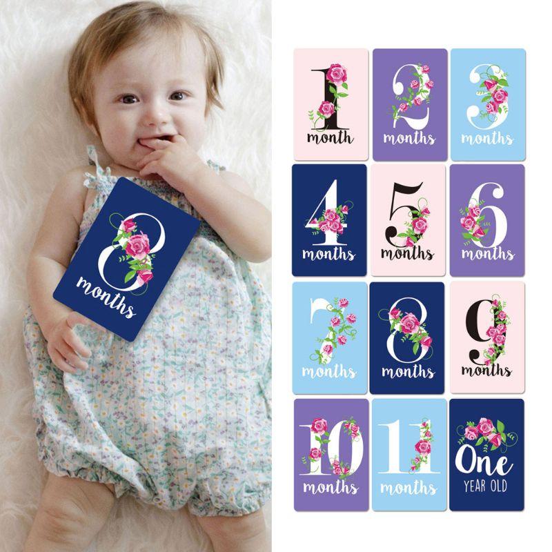 12 Sheet Baby Milestone Photo Cards Landmark Moment Photo Cards Key Age Markers NEW