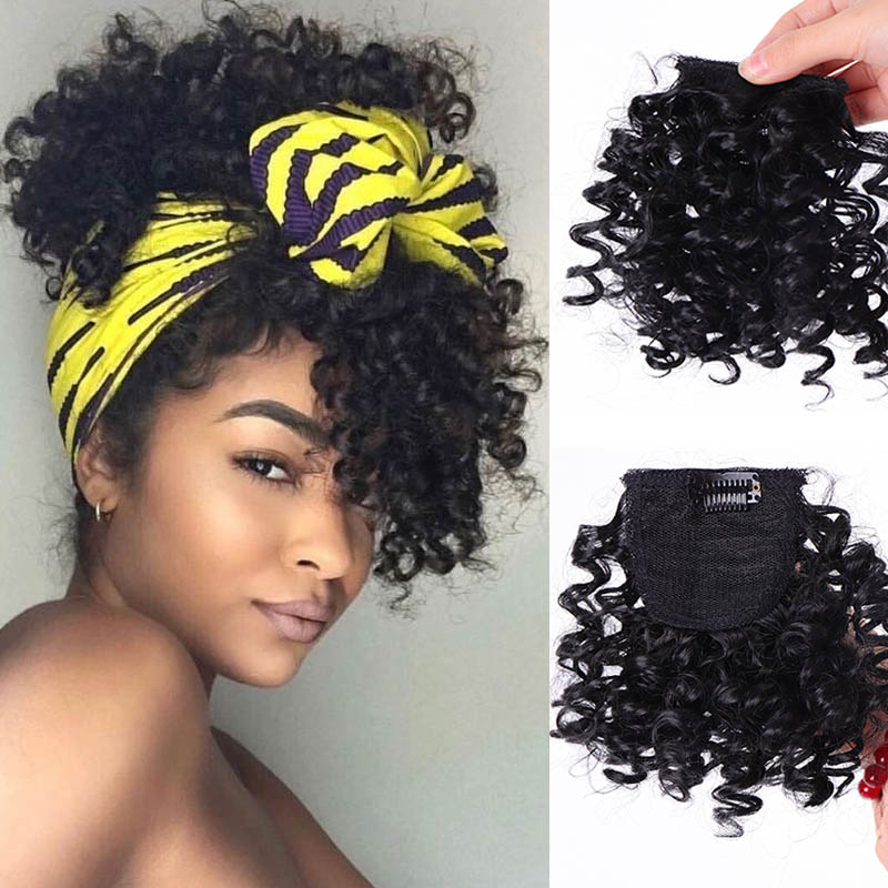 JINKAILI Fake Afro Curly Fringe Clips In Bangs High Temperature Fiber Hairpieces Natural Black Synthetic Hair Extensions