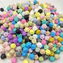 Perles de Dentition en Silicone pour bébé, lot de 10 pièces, hexagonales de 14mm, de qualité alimentaire, pour la fabrication de colliers, jouets bricolage