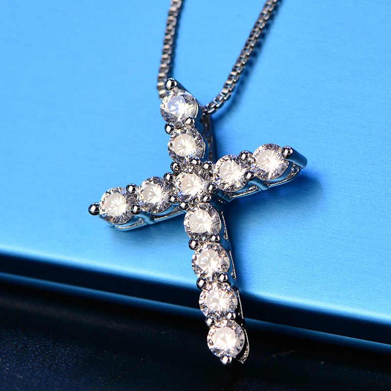 Weibliche 925 Sterling Silber Kreuz Anhänger Halskette Inlay Shiny AAAAAA CZ Zirkon Stein Anhänger & Halskette für Frauen Original Schmuck
