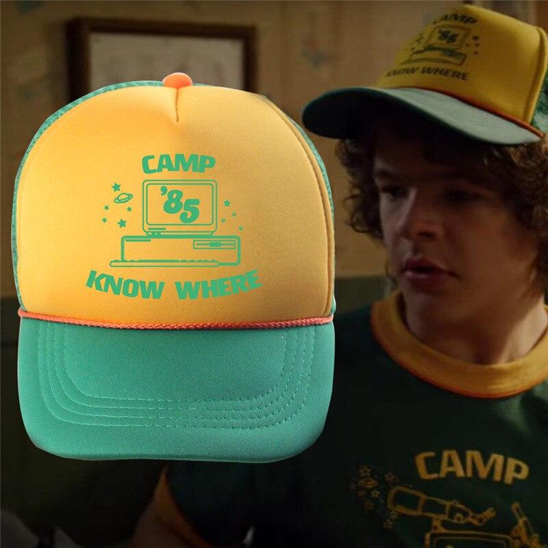 Stranger Things Dustin Hat Retro Mesh Trucker Cap Yellow Green 85 Know Where Adjustable Cap Gift Halloween