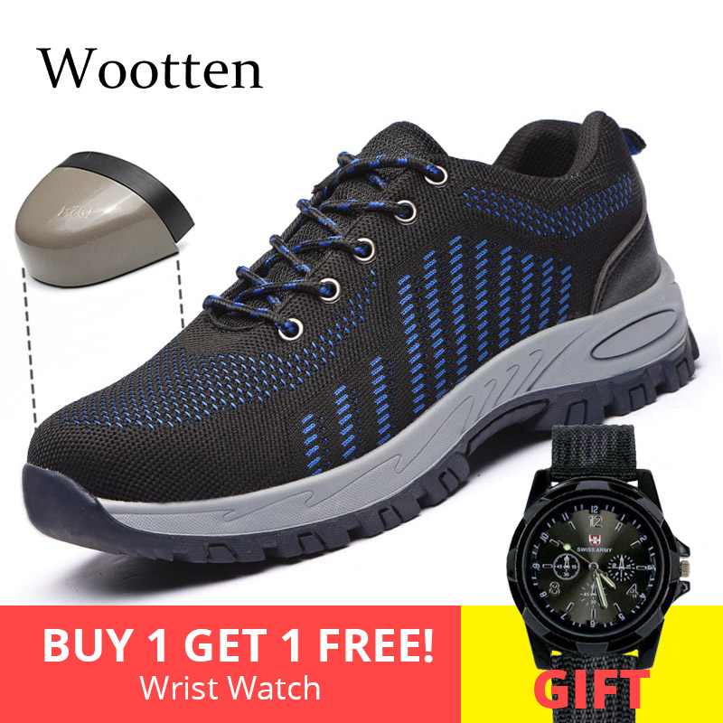 Plus Size Men Work Shoes Stab-resistant Indestructible Construction Cap Toe Steel Outdoor Breathable Safety Shoes #YSMG