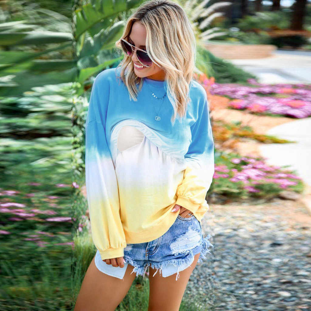 Woman clothing Pregnant Nusring Top Women's long sleeves bright colorful stitching breastfeeding pregnant women's jacket sweater