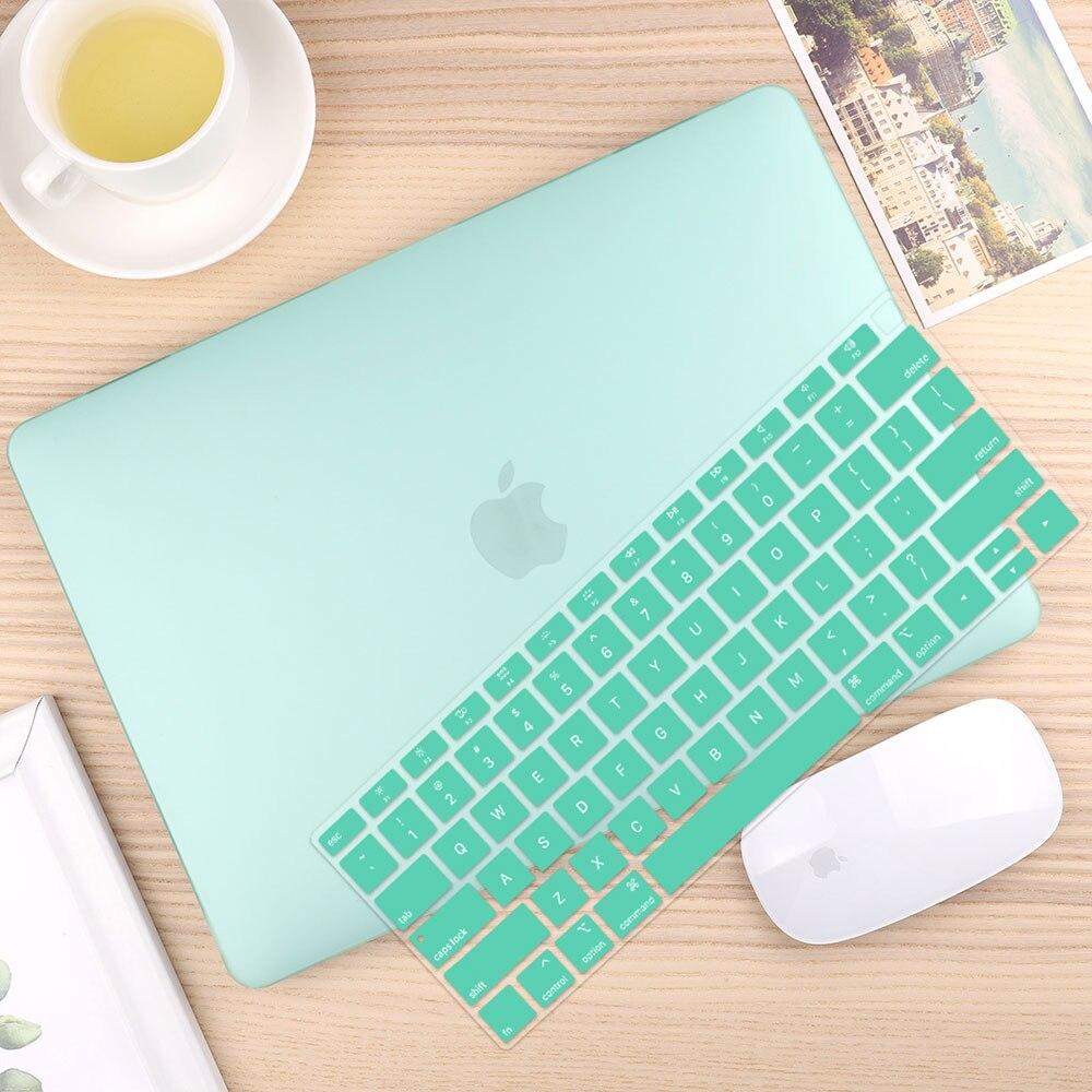 Чехол для ноутбука 4 в 1 для MacBook Air 11, 13 дюймов и Pro retina 13,3, 15,,,, кристально Матовый Жесткий чехол для клавиатуры - Цвет: Matte Green