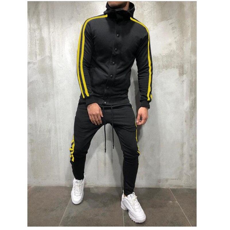 BOlLENHENG XIN Men's Zipper Tracksuit Men Fastener Stripe Set Sporting Casual Jogger Men Clothes