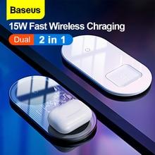 BASEUS 2 IN1 Wireless Charger ชาร์จสำหรับ iPhone 11 Airpods 15W Qi Fast Charger สำหรับ Xiao Mi สีแดง mi Samsung HUAWEI Mate 30