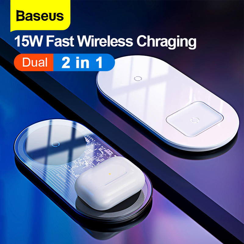 Baseus 2 in1 Wireless Charger Quick Charging For iPhone 11 Airpods 15W Qi Fast Charger For Xiao mi Redmi Samsung Huawei Mate 30Mobile Phone Chargers   -