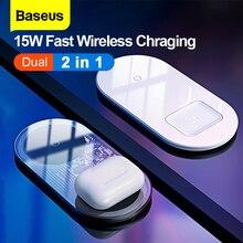 Baseus 2 in1 kablosuz şarj hızlı şarj iPhone 11 Airpods 15W Qi hızlı şarj için xiaomi mi kırmızı mi Samsung Huawei Mate 30