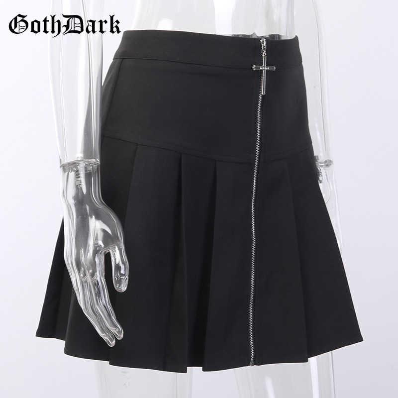 Goth escuro gótico do vintage punk saias pretas para mulher plissado harajuku estética primavera 2020 saia emo egirl y2k punk grunge chique