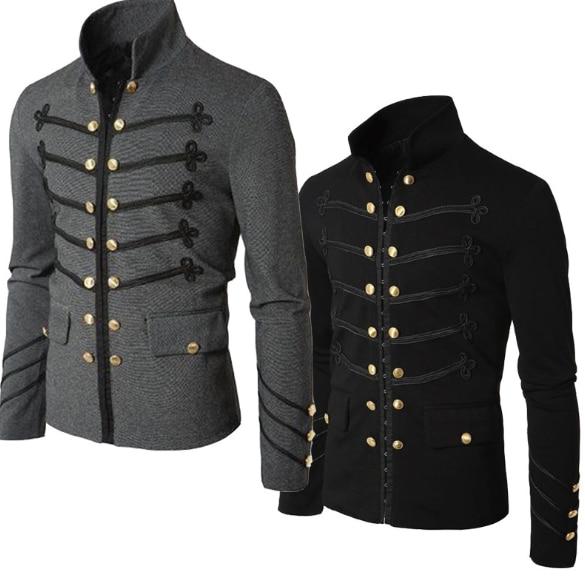 Casual Men Outerwear Plus Size Gothic Military Parade Jacket Tunic Winter Autumn Men Fashion Rock Black Steampunk Army Coat