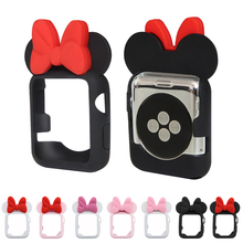 Cartoon Soft Silicone TPU Protective Case For Apple Watch Case 4 44mm 40mm Minnie bow Case For Apple Watch iWatch 3 2 1 38/ 42mm