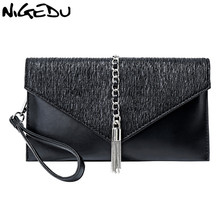 NIGEDU Women Envelope clutch Chain tassel female Crossbody bag Luxury Party ladies Dinner bag PU leather Shoulder bag purse nigedu чистый синий