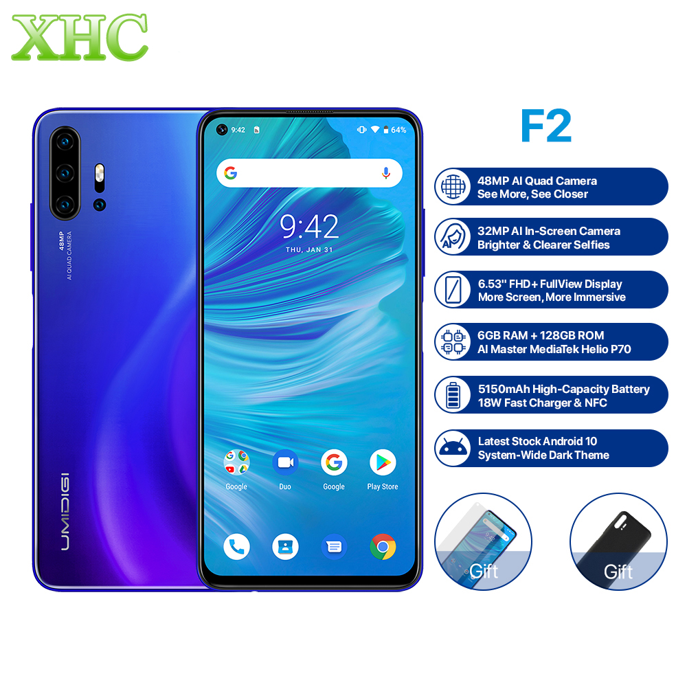 Global UMIDIGI F2 Android 10 Smartphone 6GB 128GB Octa Core 48MP 32MP Cam Dual SIM LTE 4G Mobile Phone 6.53inch Fingerprint NFC
