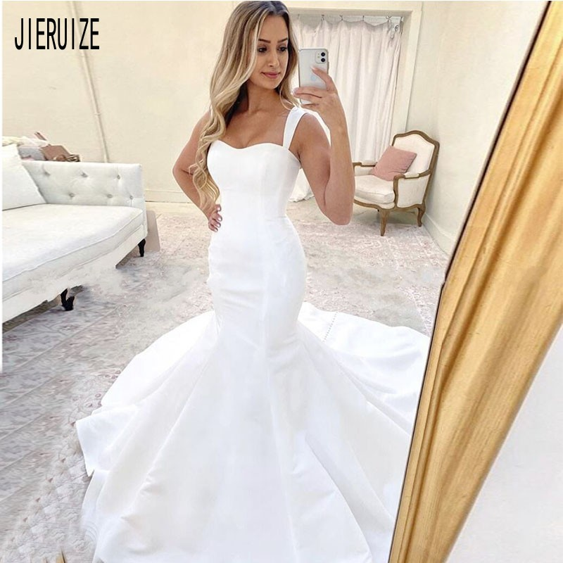 JIERUIZE Modest Simple Mermaid Wedding Dresses Spaghetti Straps Satin Wedding Gowns Lace Up Back Bridal Gowns Robe De Mariee