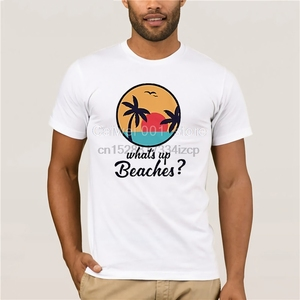 Mens white short sleeve t-shirt Whats Up Beaches Captan Holt Funny Brooklyn 99 Nine Nine TV Show Mens T-Shirt