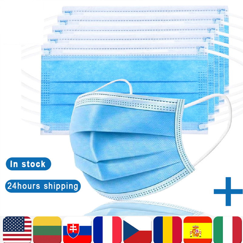 Face Mask Fast 24 Hours Delivery 3-layers Protection Mask Mouth Masks Disposable Non Woven Anti-Dust Meltblown Cloth Masks