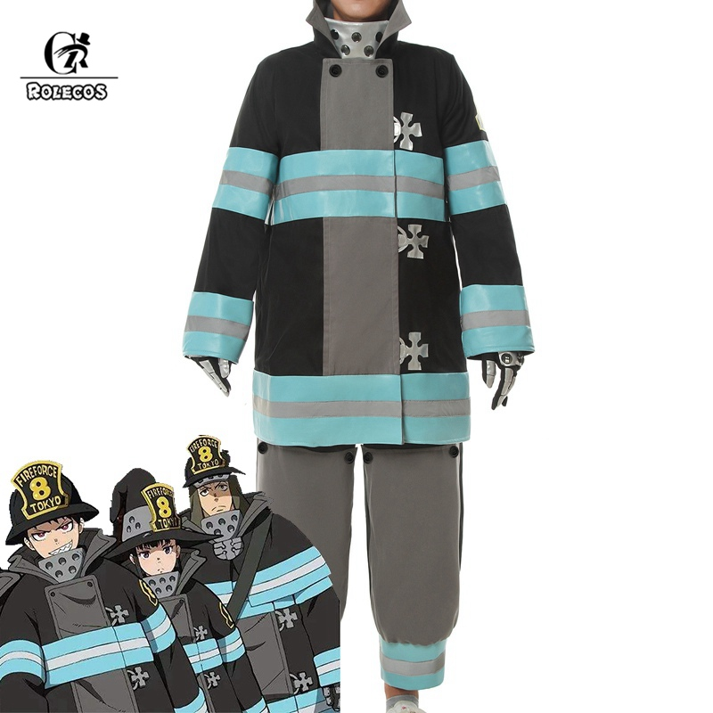 ROLECOS Fire Force Anime Cosplay Costume Enen No Shouboutai Shinra Cosplay Tamaki Arthur Hat Men Costume Firefighter Uniform