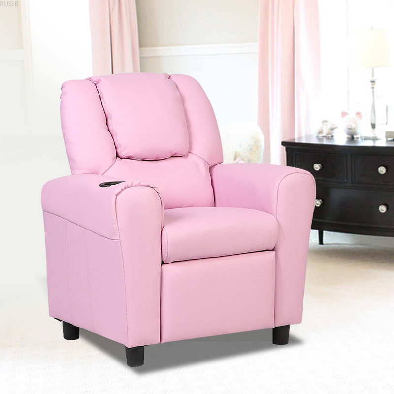 Adjustable One Seat Recreational Children's Sofa Kids Recliner Armchair Children's Furniture Sofa Seat Couch Chair W/Cup Holder