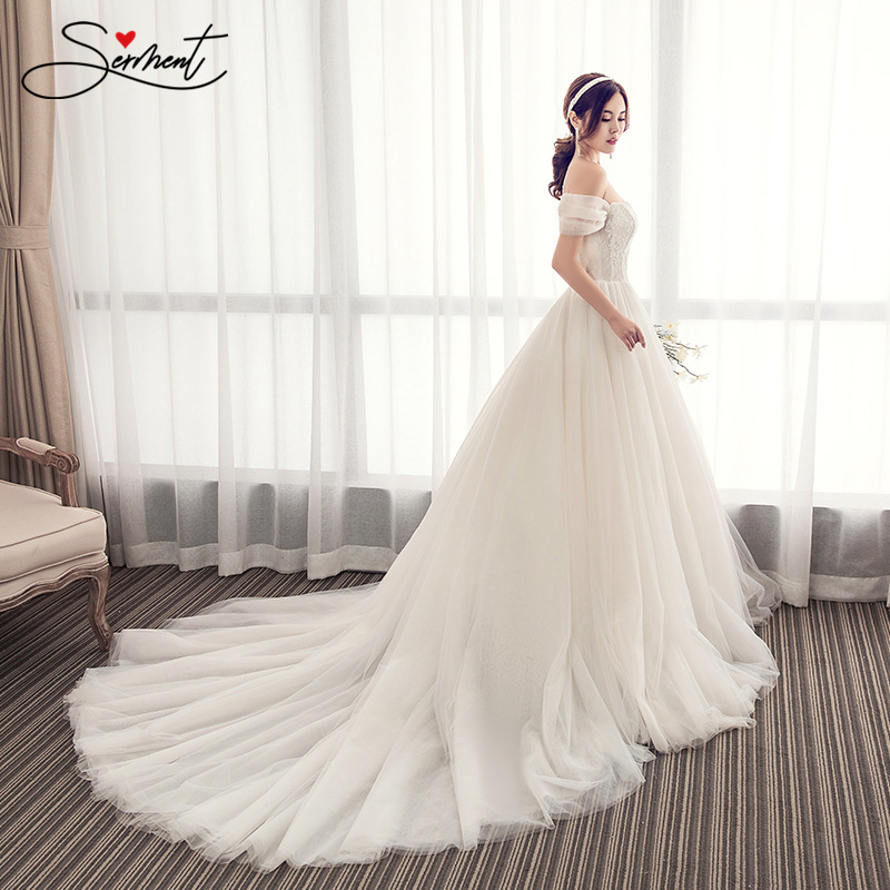 Simple Floral Print Wedding Dress Off The Shoulder Chiffon Royal Train Suitable for Church Wedding Garden Wedding Plus Size