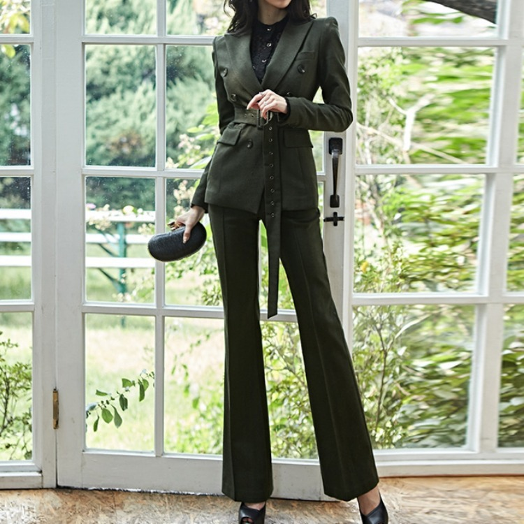 WOMEN'S Dress 2019 Autumn Debutante Fashion Square Buckle Belt Double Breasted Suit + High-waisted Bell-bottom Pants Set