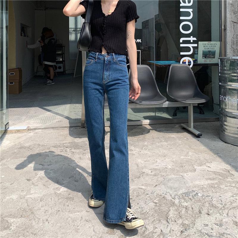 Alien Kitty Cowboy Jeans Casual Chic Blue Flare Trousers 2020 Loose Slim All Match Denim High Waist Plus Stylish Split Pants