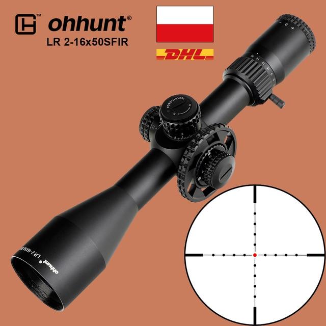 Ohhunt LR 2 16x50 SFIR التكتيكية Riflescope Mil dot الأحمر مضيئة مشاهد البصرية الجانب المنظر برج قفل صفر إعادة تعيين نطاق
