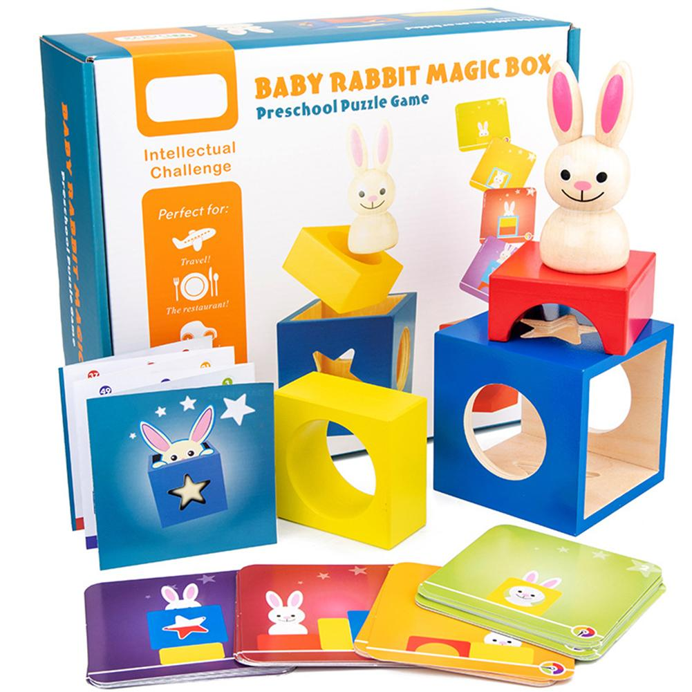Wooden Magic Box Rabbit Animal Geometric Building Blocks Desktop Game Kids Toy