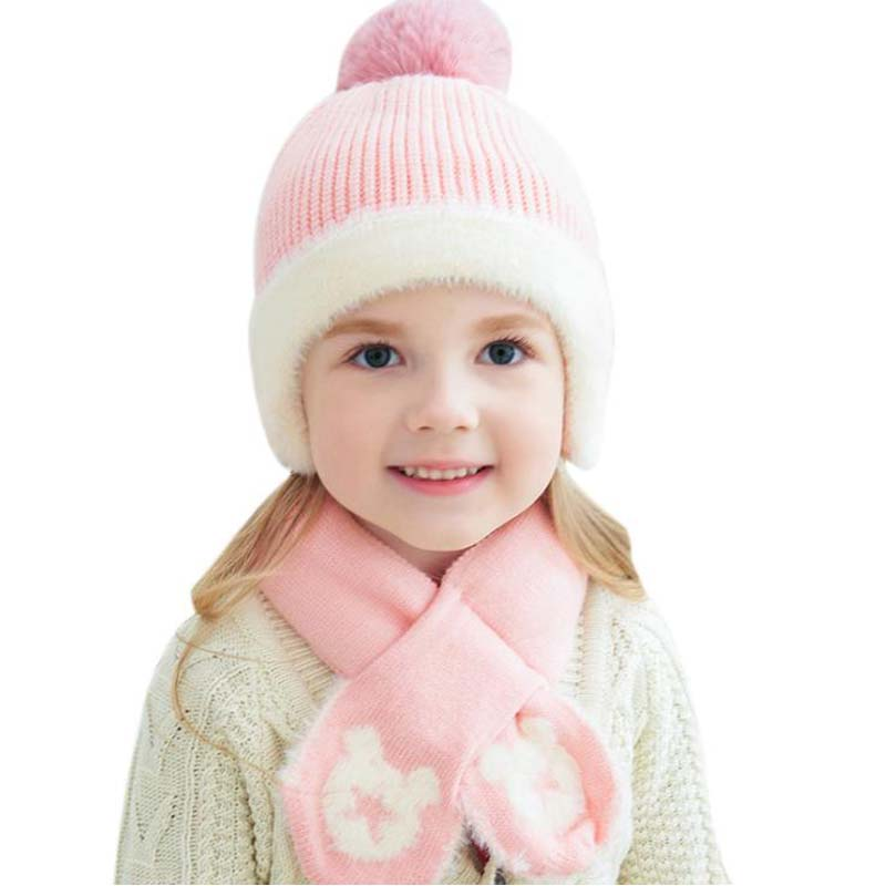 Doitbest 2 To 6 Years Old Kids Beanie Sets Five-star Hair Ball 2 Pcs Boys Girls Winter Knit Hat Scarf Set