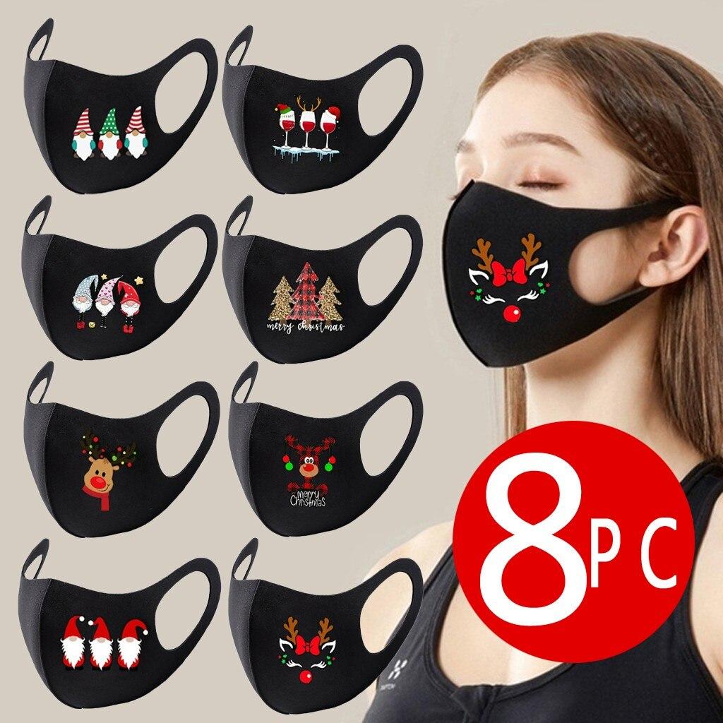 8pc colorido natal máscara facial festa máscara unissex máscaras christms santa elk impressão à prova de vento lavável papai noel rosto shilled 1