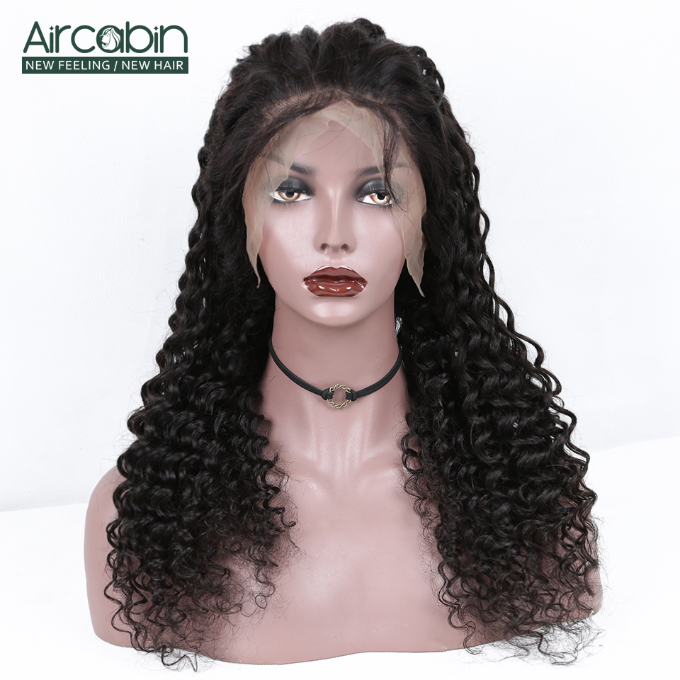 Aircabin Brazilian 13x6 Deep Wave Lace Frontal Closure Wigs Remy Human Hair 150 Density For Black Women Swiss Lace Front Wig