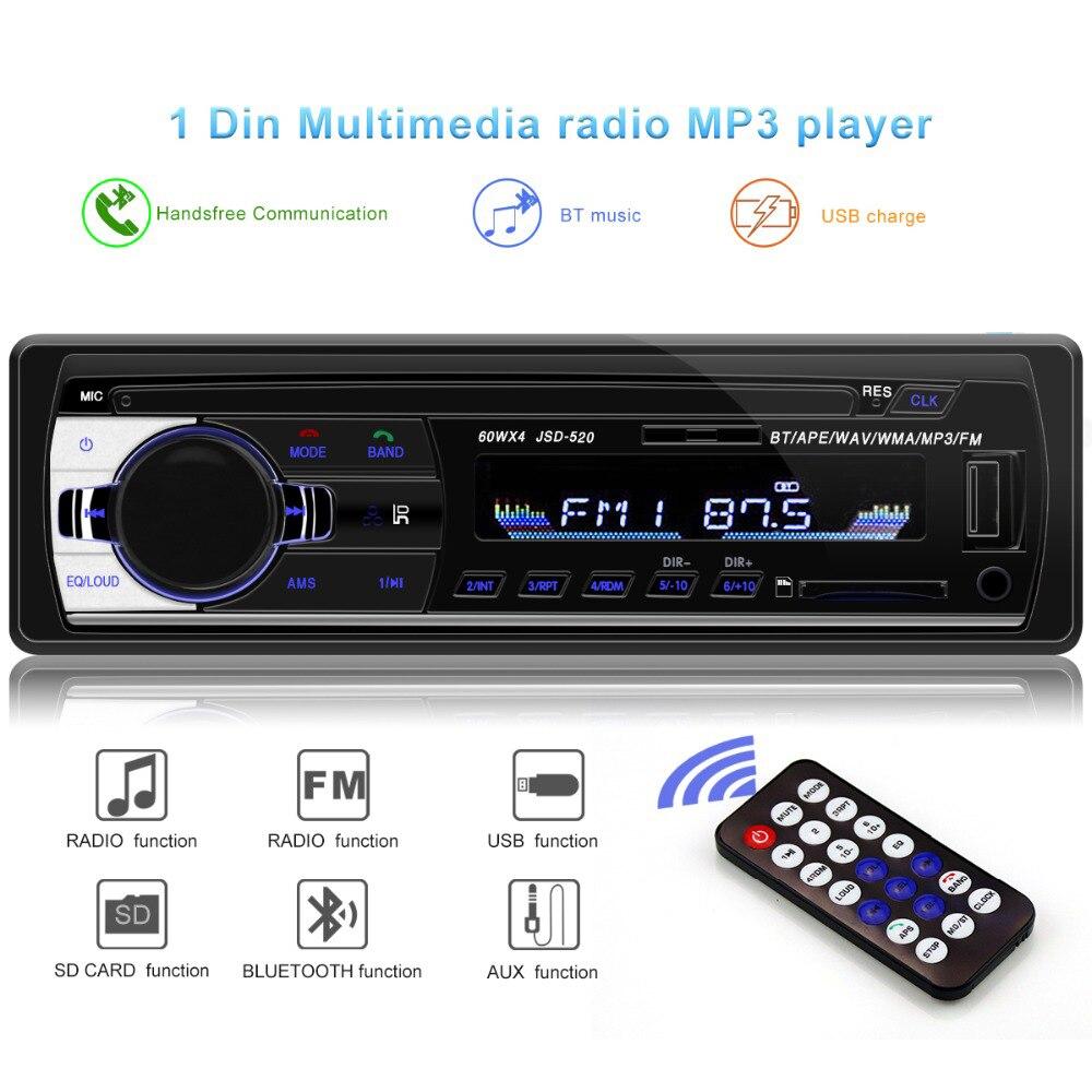 Bluetooth V2.0 JSD-520 Oto Teypleri Авто Стерео Автомагнитола 1din 12V In-dash 1 Din FM Aux SD USB MP3 автомобильный аудио плеер