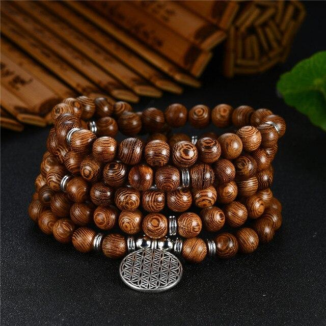 数珠ブレスレット 108 チベット仏教ロザリオチャームマラ瞑想フラワー · オブ · ライフラッキーウェンジ木製のブレスレット女性男性
