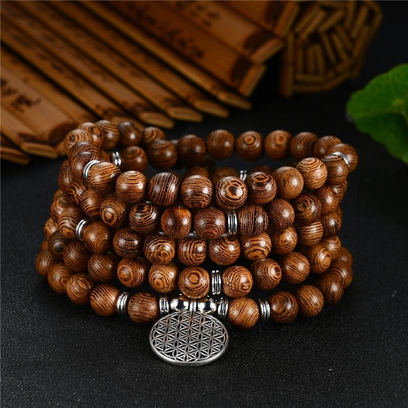 Prayer Beads Bracelet 108 Tibetan Buddhist Rosary Charm Mala Meditation Flower of Life Lucky Wenge Wooden Bracelet For Women Men