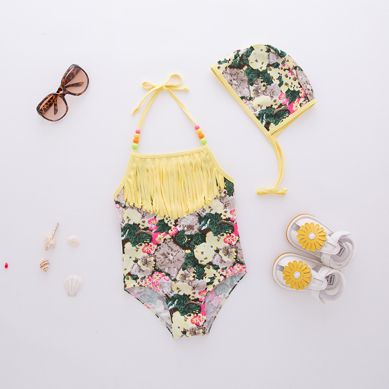 KID'S Swimwear GIRL'S One-piece Swimming Suit Yellow Tassels Halter Swimwear Hot Springs Tour Bathing Suit