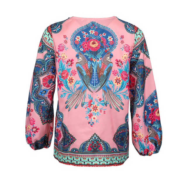 2019 Casual Vintage Shirt Blouse Women Floral Printed Lantern Sleeve Plus Size Women Tops And Blouse V Neck Blusas Mujer De Moda 5