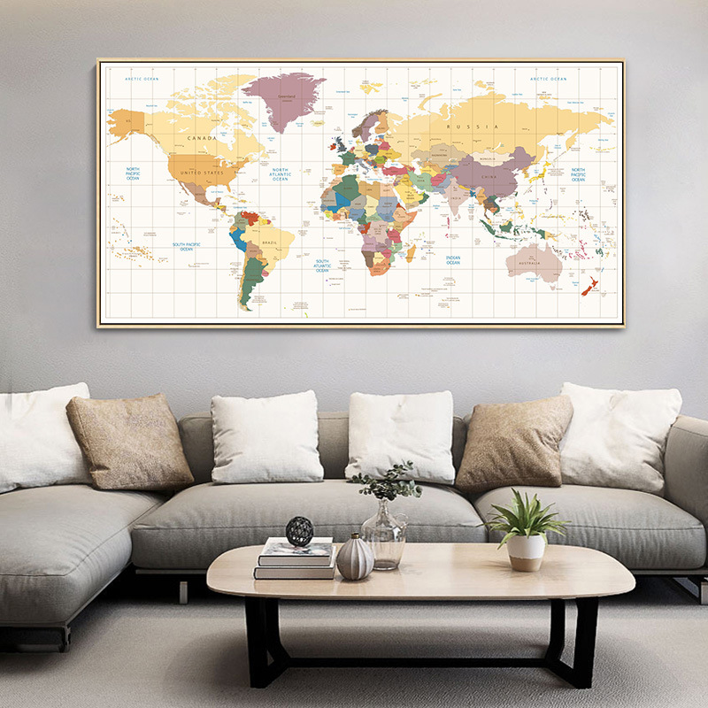 Nordic Decorative Painting English Office Sofa Background Wall Background Wall Poster Map Creative Large-scale Hanging Painting