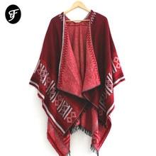 купить Women Geometry Sweater Poncho Cape Coat Open Front Blanket Shawls and Wraps Winter Fall Luxury Scarf Pashmina Ruana Female по цене 968.85 рублей
